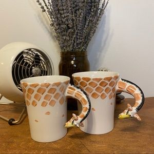 Set of Two Pier 1 Imports Giraffe Handle Mugs